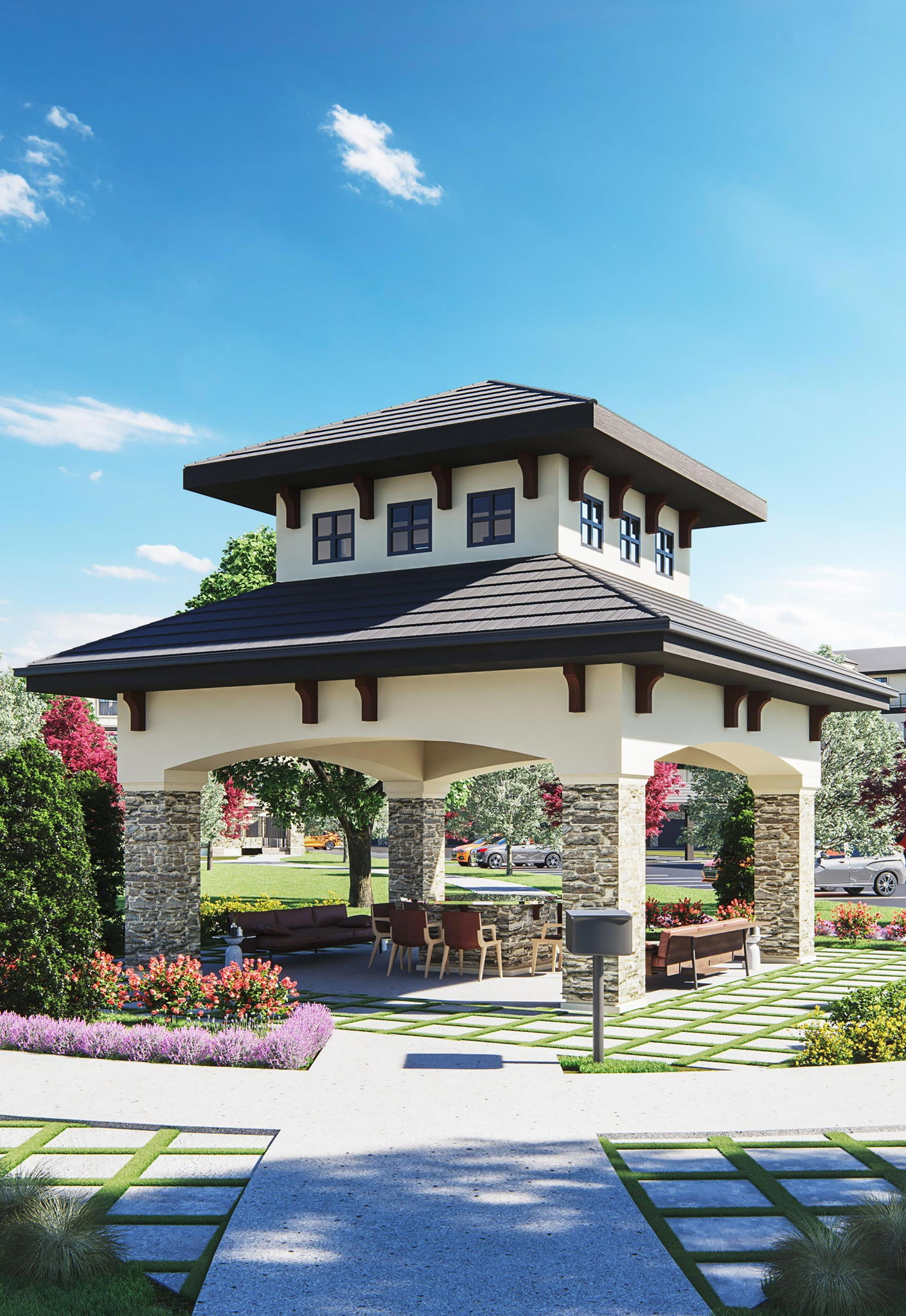 Gazebo lounge area with fireplace | The Villas at Ridgeview Falls